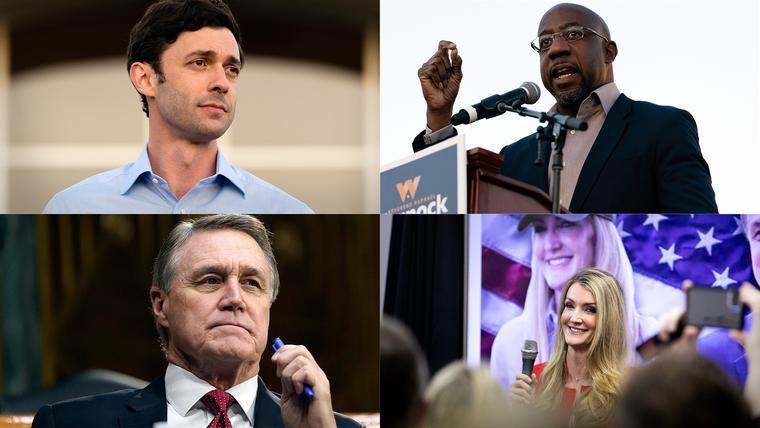 Arriba, los demócratas Jon Ossoff (izquierda) y Raphael Warnock. Debajo, los republicanos David Perdue y Kelly Loeffler.