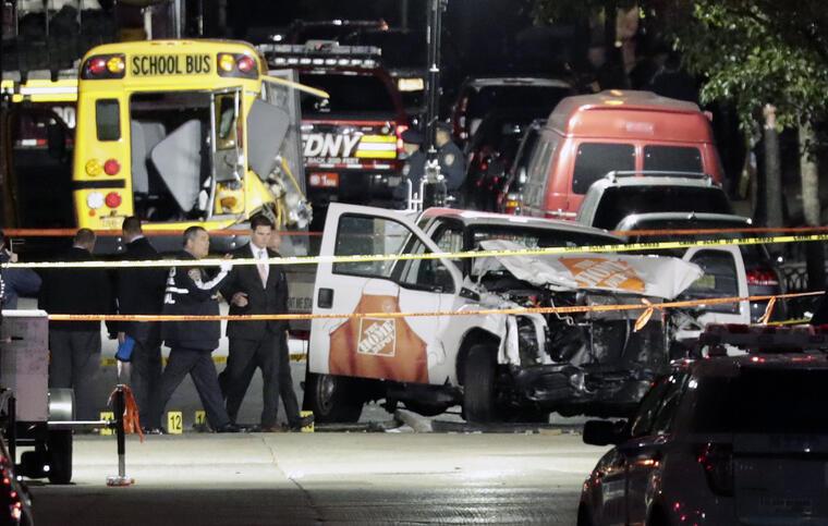 Imagen del atentado en Nueva York que dejó ocho muertos.