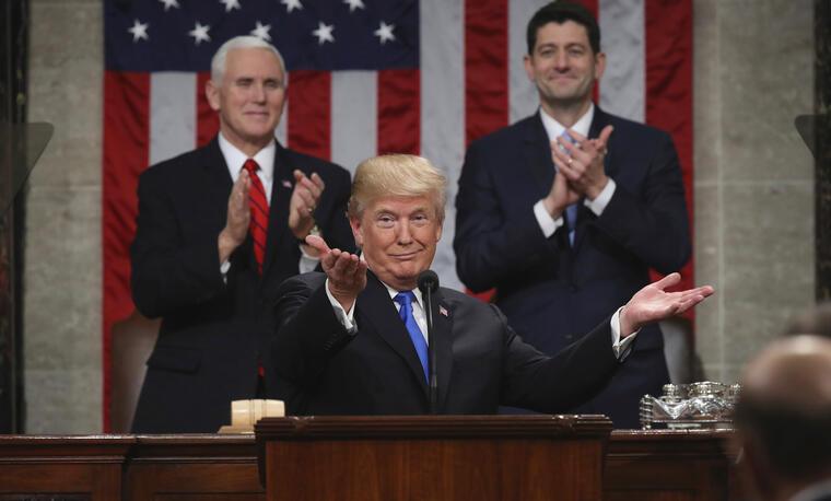 Trump, durante el discurso del estado de la nación este martes.