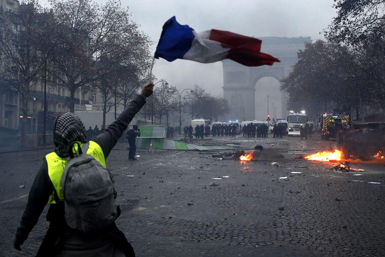 Yellow vests protest against fuel prices in Paris