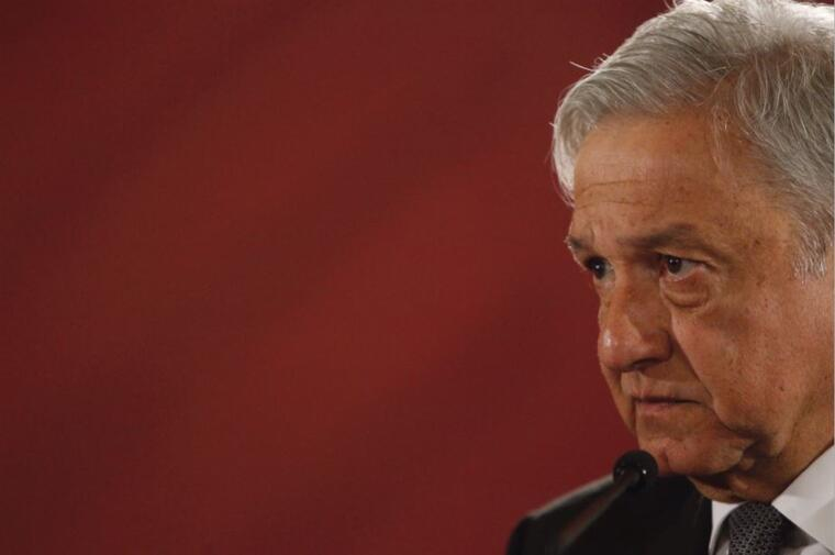 El presidente de México, Andrés Manuel López Obrador, este miércoles en rueda de prensa en el Salón Tesorería del Palacio Nacional, en Ciudad de México (México).