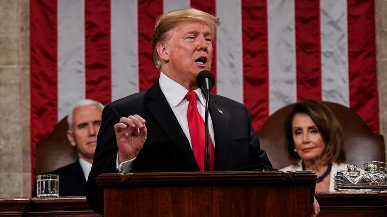 El presidente Trump durante su discurso sobre el Estado de la Unión el 5 de febrero de 2019