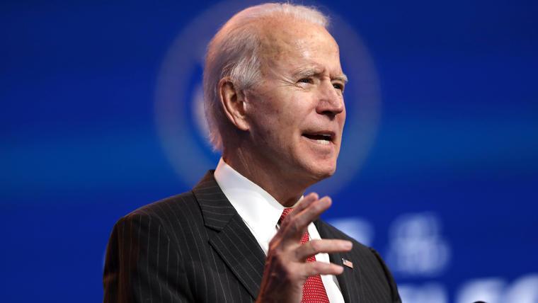 El presidente electo, Joe Biden, después de una reunión con la Asociación Nacional de Gobernadores el 19 de noviembre en Wilmington, Delaware.