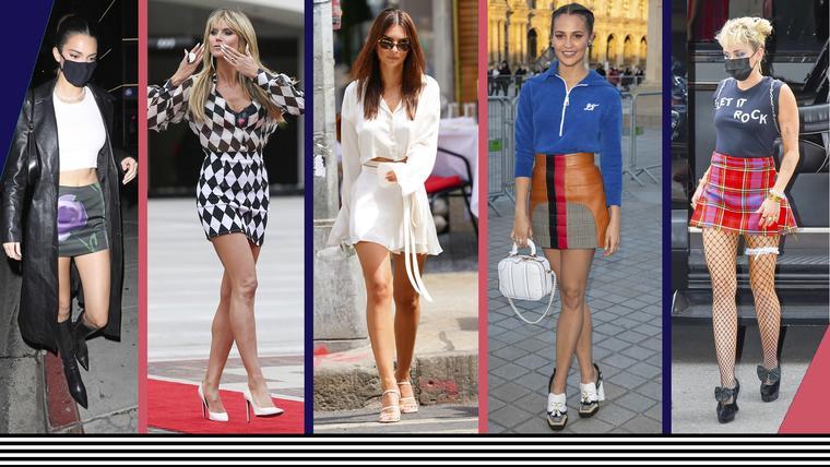 Minifaldas de las celebridades Miley Cyrus, Heidi Klum, Emily Ratajkowski, Kendall Jenney y Alicia Vikander