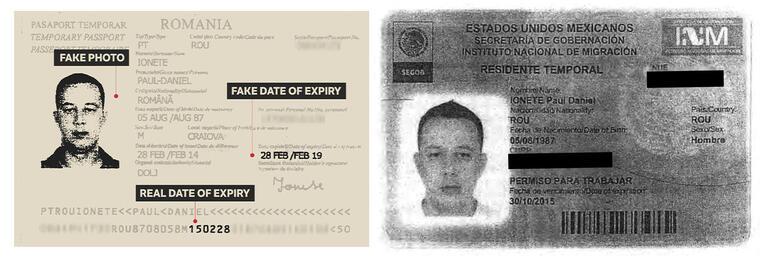 """A la izquierda, el pasaporte falsificado con el nombre """"Paul Daniel Ionete"""" y la tarjeta de la residencia temporal mexicana de Adrian Tiugan."""