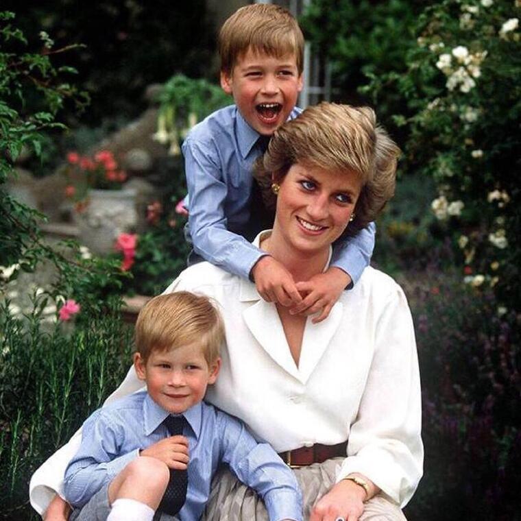 Princesa Diana y el príncipe Harry y William