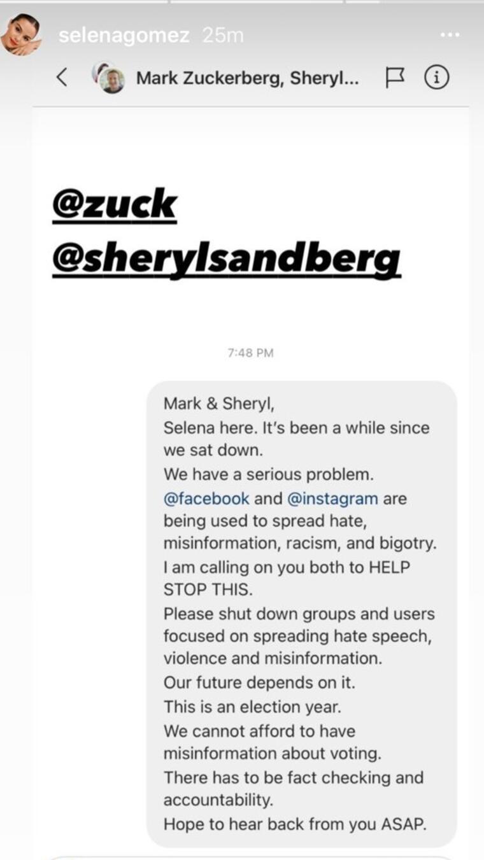 Mensaje de Selena Gomez a Mark Zuckerberg