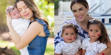 Ximena Duque y Jacky Bracamontes con sus hijas