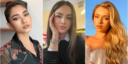 Kamila Serikbai Miss Kazajstán, Helen Hernandez Miss Aruba y Cristiana Silva, Miss Portugal