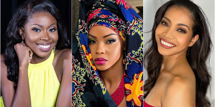 Shabree Frett Miss Islas Vírgenes Británicas, Kossinda Angele Miss Camerún y Aisha Tochigi Miss Japón