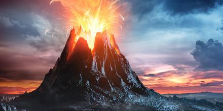Volcán en erupción