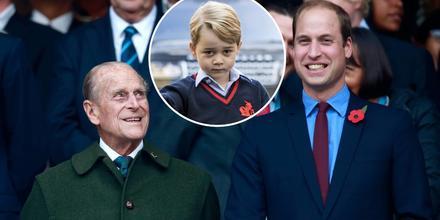 El príncipe Philip con su nieto, el príncipe William, en 2015; príncipe George