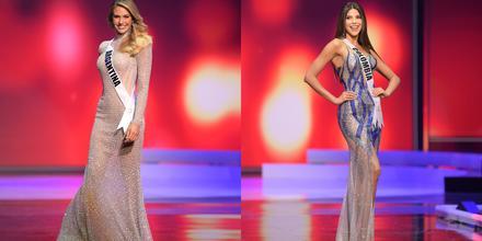 Miss Argentina y Miss Colombia, candidatas a Miss Universo 2021 69na edición, desfile con vestidos de gala en competencia preliminar