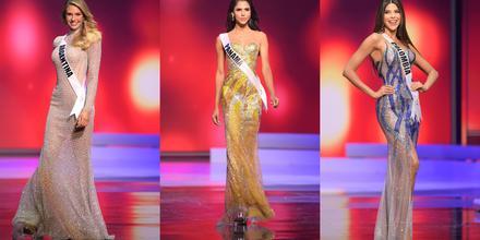 Candidatas a Miss Universo 2021 69na edición, desfile con vestidos de gala en competencia preliminar