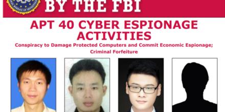 Cartel de se busca del FBI de cuatro presuntos piratas informáticos de nacionalidad china