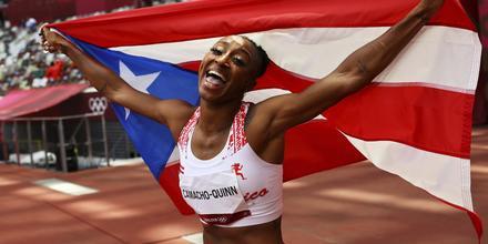La atleta puertorriqueña Jasmine Camacho Quinn, campeona olímpica de los 100 metros con valla en Tokio