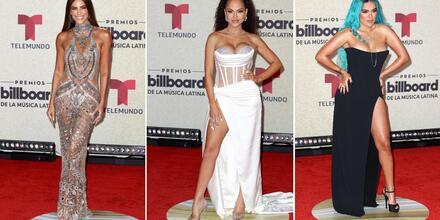Gaby Espino, Natti Natasha y Karol G en la alfombra roja de los Premios Billboard de la Música Latina 2020