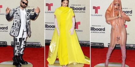 Mike Bahía, Rosalía y Tokischa en la alfombra roja de los premios Billboard