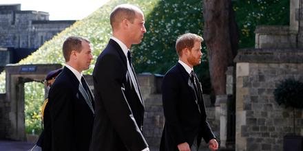 Príncipe William y príncipe Harry durante el funeral de su abuelo, el príncipe Philip