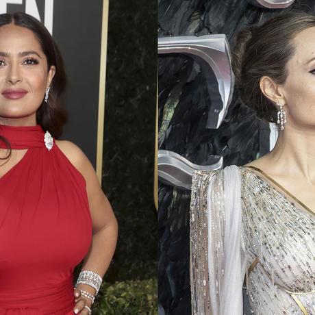 Salma Hayek y Angelina Jolie posando con vestido de gala