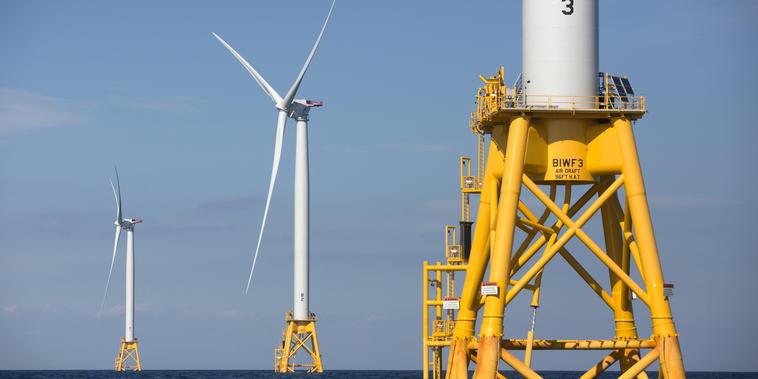 Tres de las turbinas de Deepwater Wind frente a Block Island, Rhode Island