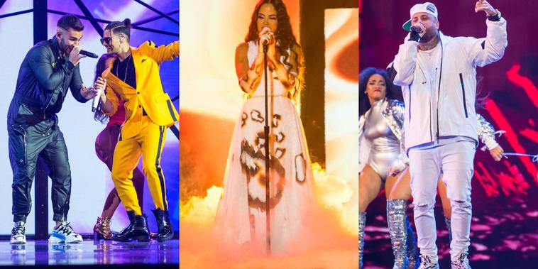 Manuel Turizo, Abraham Mateo, Natti Natasha y Nicky Jam en el escenario de los Premios Tu Música Urbano 2020
