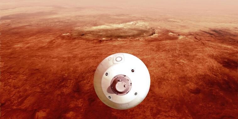 En esta ilustración de la NASA, Perseverance desciende a la superficie de Marte.