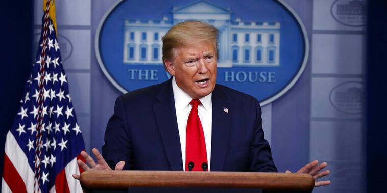 Trump durante la conferencia sobre el coronavirus en la Casa Blanca