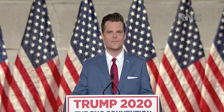 El representante Matt Gaetz en la Convención Nacional Republicana