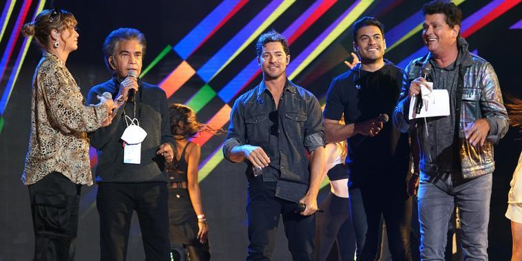 Sofía Reyes, David Bisbal, José Luis 'El Puma', Carlos Vives y Carlos Rivera en el segundo día de ensayos de los Latin American Music Awards 2021
