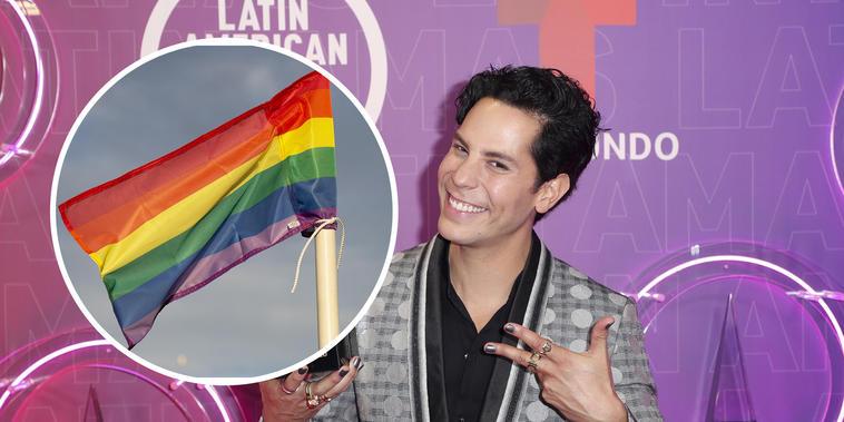 Christian Chávez con los colores de la comunidad LGBTQ+