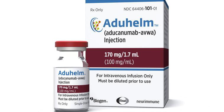 Foto de un frasco y envase del fármaco Aduhelm