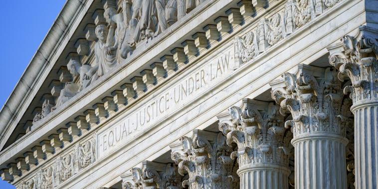La fachada del edificio de la Corte Suprema en Washington