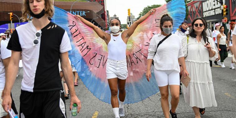 Manifestante por los derechos de los transexuales en Nueva York