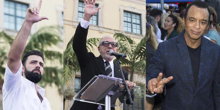Jencarlos Canela, Emilio Estefan y Jon Secada en manifestación por la libertad de Cuba, en Miami.