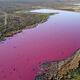 Laguna rosa en la Patagonia argentina