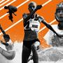 Ilustración de cuatro atletas latinoamericanos y caribeños en Tokyo2020, como la triple saltista venezolana Yulimar Rojas y el parataekwondoin mexicano Juan Diego García.