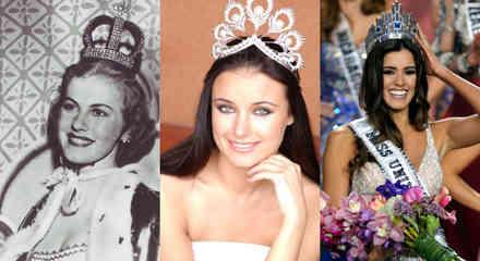 Armi Kuusela, Oxana Fedorova y Paulina Vega portando la corona de Miss Universo