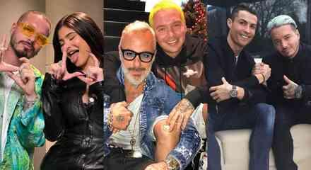 J Balvin con Kylie Jenner, Gianluca Vacchi y Cristiano Ronaldo