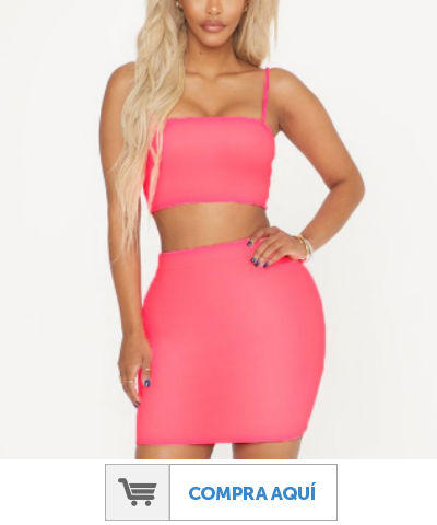 Shape neon pink bodycon skirt