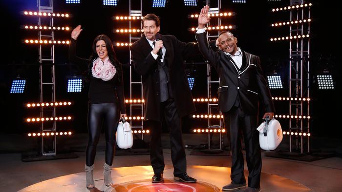 Melissa, Eduardo Videgaray y Domingo en el estreno de Gran Hermano