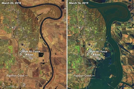 El antes y el después tras inundaciones históricas en Nebraska