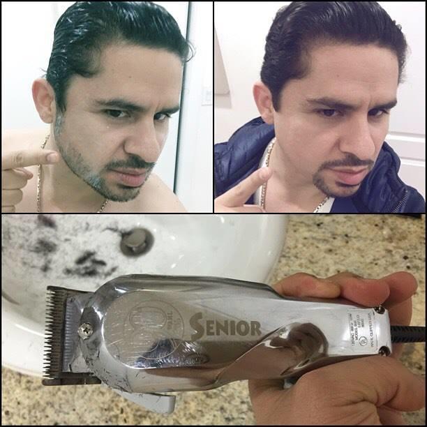 Larry Hernández afeitado
