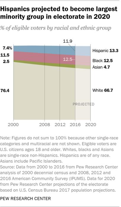 Los votantes hispanos sumarán 32 millones en 2020, según el Centro de Investigación Pew