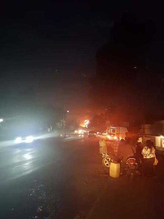 mágenes del sitio donde ocurrió la explosión de un ducto de Pemex en Tlahuelilpan, Hidalgo en México este viernes por la noche