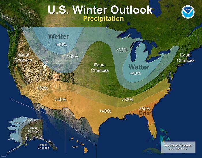Pronóstico de precipitaciones para el invierno.