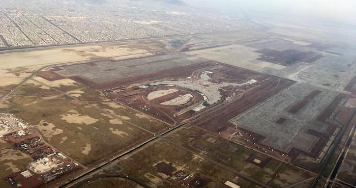 Vista aérea de la construcción en Texcoco, Estado de México, del Nuevo Aeropuerto Internacional de la Ciudad de México (NAICM). Foto: Cuartoscuro.
