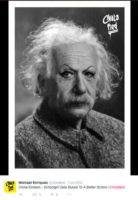Albert Einstein maquillado como chola