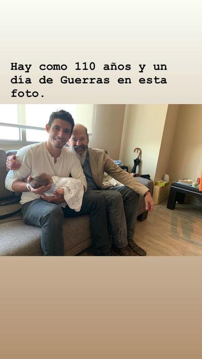 Alberto Guerra con su hijo y su padre