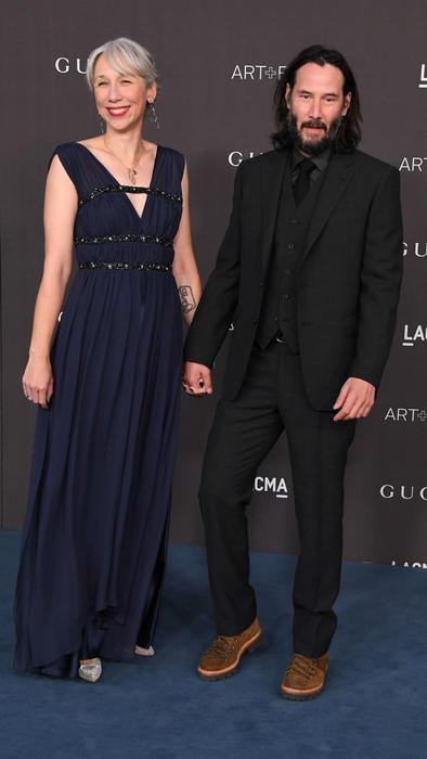 Alexandra Grant con Keanu Reeves en la alfombra roja de la LACMA Art + Film Gala 2019